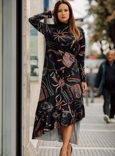 Φόρεμα maxi jersey ασύμμετρο