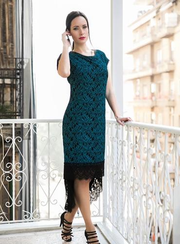 Φόρεμα ασύμμετρο δανδέλα