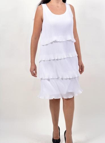 Φόρεμα πλισέ διπλό λευκό