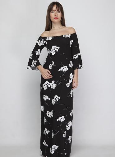 Φόρεμα  βισκόζ floral μαύρο