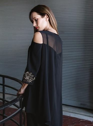 Μπλούζα κρέπ μοτίφ μαύρο