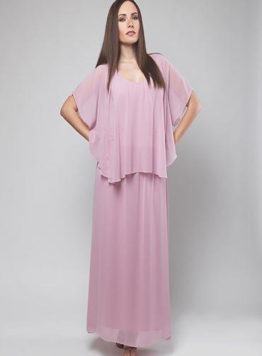 Φόρεμα μάξι μουσελίνα ρόζ