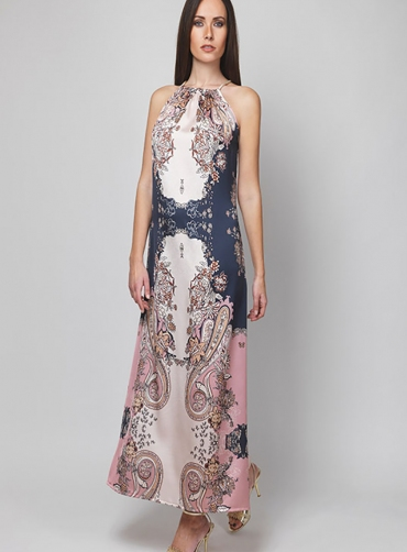 Φόρεμα σατέν print κορδόνι