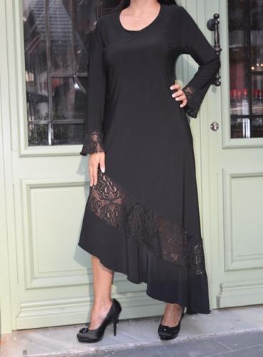Φόρεμα jersey ασύμμετρο δανδέλα μαύρο
