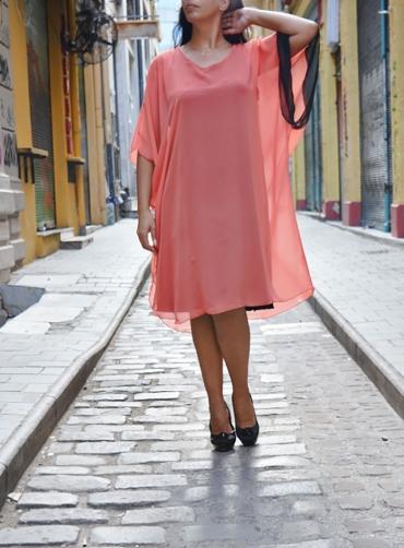 Φόρεμα μουσελίνα ζαπονέ κοραλί